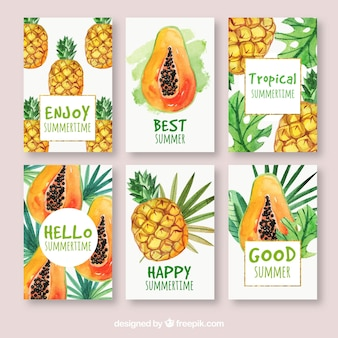 Conjunto de cartões exóticos de frutas com aguarela