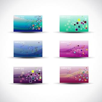 Conjunto de cartões vetoriais coloridos e elegantes de 6 com diferentes designs