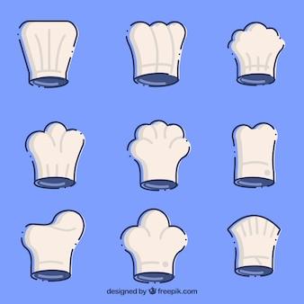 Conjunto de chapéus de chef com diferentes tipos de desenhos