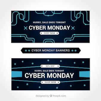 Conjunto de ciber preto banners segunda-feira com linhas azuis