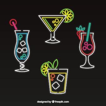 Conjunto de cocktails de néon