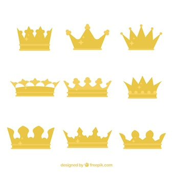 Conjunto de coroas do rei com design plano