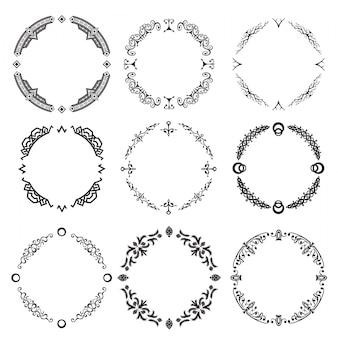 Conjunto de decorativos abstratos ornamets ilustração vetorial