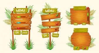 Conjunto de desenhos animados de vetores sinais de madeira de várias formas