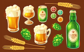Conjunto de desenhos animados de vetores vários recipientes para engarrafamento e armazenamento de cerveja