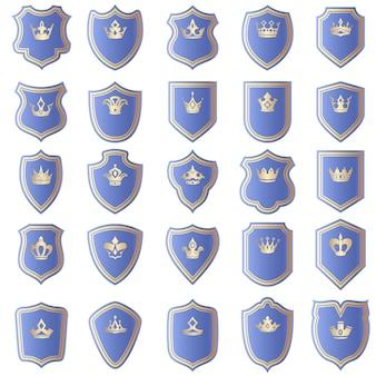 Conjunto de design de escudo com várias formas de coroas