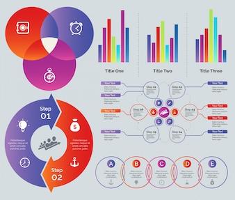 Conjunto de design de gráfico de estatística e processo