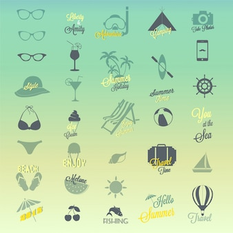 Conjunto de design de ícones de verão
