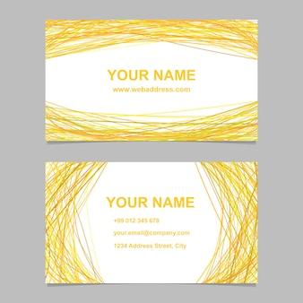 Conjunto de design de modelo de cartão de visita amarelo - gráfico vetorial com curvas