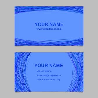 Conjunto de design de modelo de cartão de visita azul - ilustração de cartão de identidade vetorial com linhas curvas