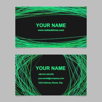 Conjunto de design de modelo de cartão de visita de cor abstrata - design de identidade vetorial com linhas curvas no fundo preto