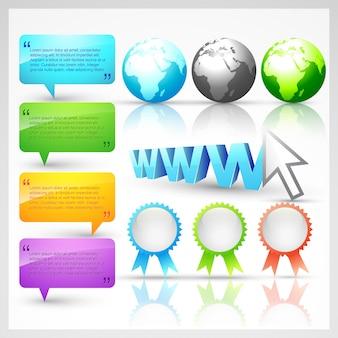 Conjunto de design de vetor de elementos web