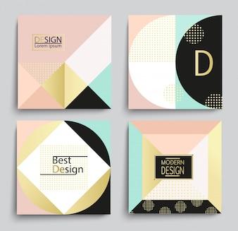 Conjunto de design elegante do modelo de bandeira geométrica.