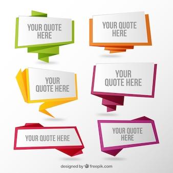 Conjunto de discurso do origami bolhas de citações