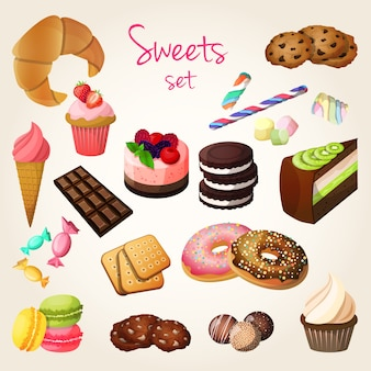 Conjunto de doces e pastelaria