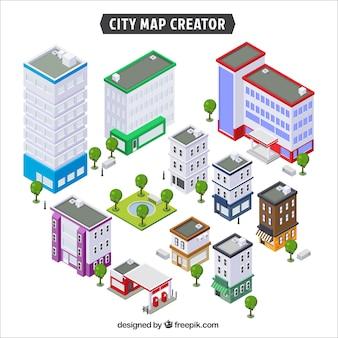 Conjunto de edifícios para criar uma cidade