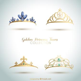 Conjunto de elegantes coroas de princesa