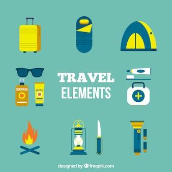 Conjunto de elementos de aventura em design plano