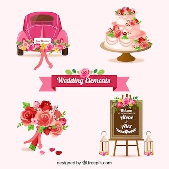 Conjunto de elementos de casamento com flores bonitas