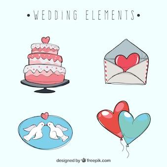 Conjunto de elementos de casamento desenhados à mão