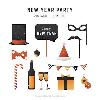 Conjunto de elementos de celebração de ano novo
