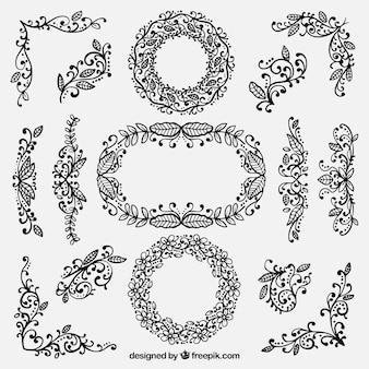 Conjunto de elementos de decoração floral desenhados à mão
