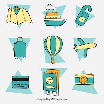 Conjunto de elementos de viagem desenhados à mão