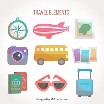 Conjunto de elementos de viagem retro fofos