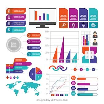 Conjunto de elementos decorativos infográficos