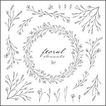 Conjunto de elementos florais vintage desenhado a mão