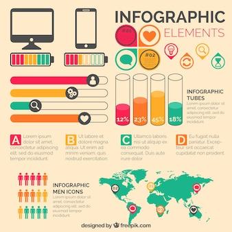 Conjunto de elementos infográficos com elementos coloridos