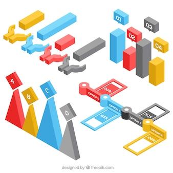 Conjunto de elementos infográficos em estilo isométrico