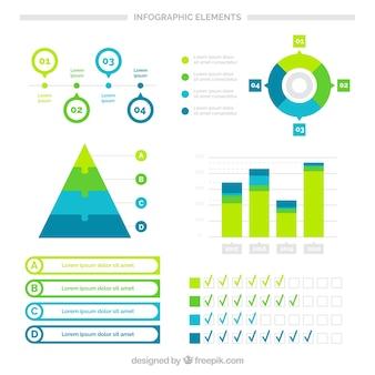 Conjunto de elementos infográficos em tons verde e azul
