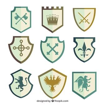 Conjunto de emblemas de cavaleiros elegantes