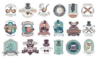 Conjunto de emblemas vintage cavalheiro, rótulos.