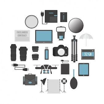 Conjunto de equipamento de fotografia