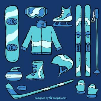Conjunto de equipamentos de esporte de inverno desenhada à mão