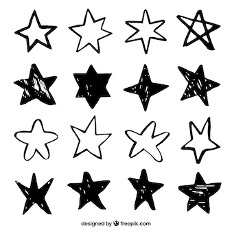 Conjunto de estrelas pintadas à mão