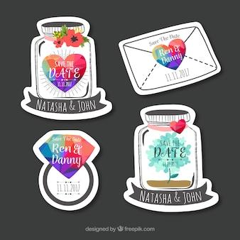 Conjunto de etiquetas de casamento com estilo divertido