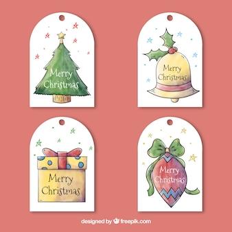Conjunto de etiquetas de natal de aquarela
