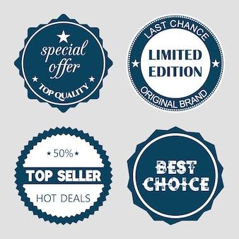 Conjunto de etiquetas de venda design plano ilustrações vetoriais para o site de promoção de produtos de compras on-line e site de sites móveis crachás anúncios material de impressão