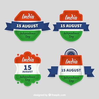 Conjunto de etiquetas para o dia da independência indiana
