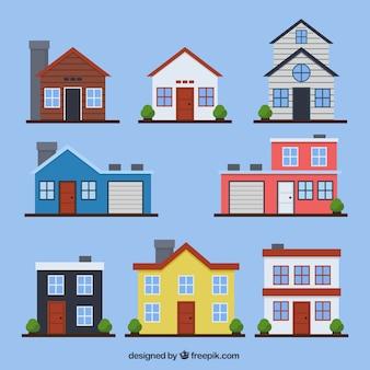 Conjunto de fachadas das casas em design plano