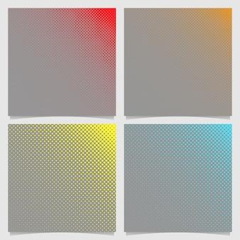 Conjunto de fundo de padrão de ponto de retalho retro - folheto quadrado quadrado desenhos gráficos de círculos