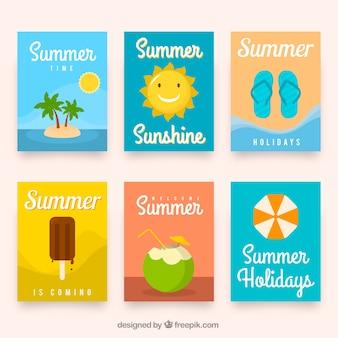 Conjunto de grandes cartões de verão