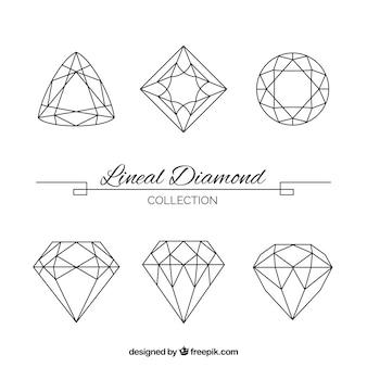 Conjunto de grandes pedras preciosas lineal