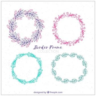 Conjunto de grinaldas de flores desenhadas à mão
