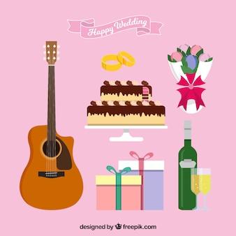 Conjunto de guitarra com elementos de celebração de casamento