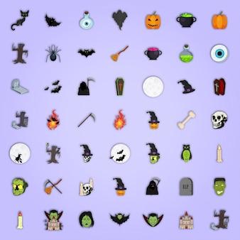 Conjunto de ícones coloridos para Halloween.