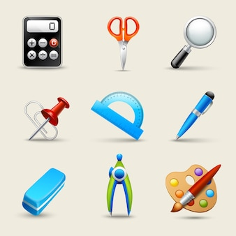 Conjunto de ícones da escola realista definido